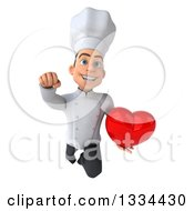 Clipart Of A 3d Young White Male Chef Flying With A Heart Royalty Free Vector Illustration
