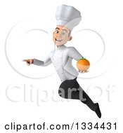 Clipart Of A 3d Young White Male Chef Flying Pointing And Holding A Navel Orange Royalty Free Vector Illustration
