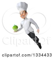 Clipart Of A 3d Young White Male Chef Flying And Holding A Green Bell Pepper Royalty Free Vector Illustration