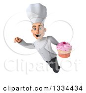 Clipart Of A 3d Young White Male Chef Flying With A Pink Frosted Cupcake Royalty Free Vector Illustration
