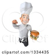 Clipart Of A 3d Young White Male Chef Flying With A Double Cheeseburger Royalty Free Vector Illustration