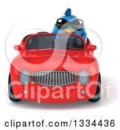 Clipart Of A 3d Blue Penguin Wearing Sunglasses And Driving A Red Convertible Car Royalty Free Vector Illustration