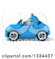 Clipart Of A 3d Blue Penguin Driving A Convertible Car 3 Royalty Free Vector Illustration