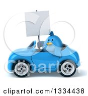 Clipart Of A 3d Blue Penguin Holding A Blank Sign And Driving A Convertible Car Royalty Free Vector Illustration