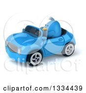 Clipart Of A 3d Blue Penguin Driving A Convertible Car 2 Royalty Free Vector Illustration by Julos