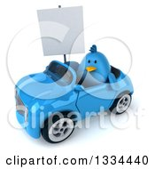 Clipart Of A 3d Blue Penguin Holding A Blank Sign And Driving A Convertible Car 2 Royalty Free Vector Illustration