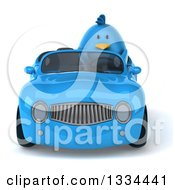 Clipart Of A 3d Blue Penguin Driving A Convertible Car Royalty Free Vector Illustration by Julos