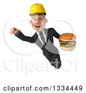 Clipart Of A 3d Young White Male Architect Flying With A Double Cheeseburger Royalty Free Vector Illustration
