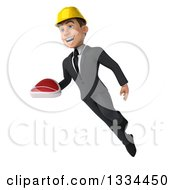 Clipart Of A 3d Young White Male Architect Flying With A Beef Steak Royalty Free Vector Illustration