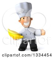 Clipart Of A 3d Short White Male Chef Presenting And Holding A Banana Royalty Free Vector Illustration by Julos