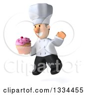 Clipart Of A 3d Short White Male Chef Facing Slightly Left Jumping And Holding A Pink Frosted Cupcake Royalty Free Vector Illustration by Julos