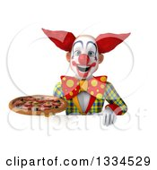 Clipart Of A 3d Funky Clown Holding A Pizza Over A Sign Royalty Free Vector Illustration