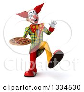 Clipart Of A 3d Funky Clown Dancing Waving And Holding A Pizza Royalty Free Vector Illustration