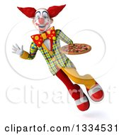 Clipart Of A 3d Funky Clown Flying Waving And Holding A Pizza Royalty Free Vector Illustration