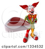Clipart Of A 3d Funky Clown Holding Up A Beef Steak Royalty Free Vector Illustration