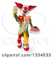 Clipart Of A 3d Funky Clown Flying And Holding A Beef Steak Royalty Free Vector Illustration