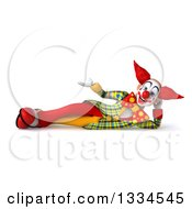 Clipart Of A 3d Funky Clown Resting On His Side And Presenting Royalty Free Vector Illustration