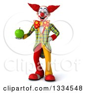 Clipart Of A 3d Funky Clown Holding A Green Apple Royalty Free Vector Illustration
