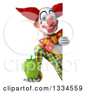 Clipart Of A 3d Funky Clown Holding A Green Bell Pepper Around A Sign Royalty Free Vector Illustration