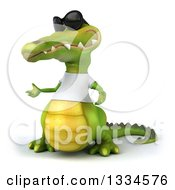 Clipart Of A 3d Casual Crocodile Wearing Sunglasses And A White T Shirt Presenting Royalty Free Vector Illustration