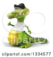 Clipart Of A 3d Casual Crocodile Wearing Sunglasses And A White T Shirt Facing Slightly Left And Giving A Thumb Up Royalty Free Vector Illustration