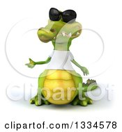 Clipart Of A 3d Casual Crocodile Wearing Sunglasses And A White T Shirt Presenting 2 Royalty Free Vector Illustration