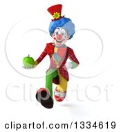 Clipart Of A 3d Colorful Clown Sprinting With A Green Apple Royalty Free Vector Illustration