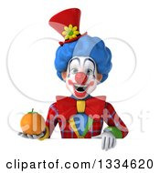 Clipart Of A 3d Colorful Clown Holding A Navel Orange Over A Sign Royalty Free Vector Illustration
