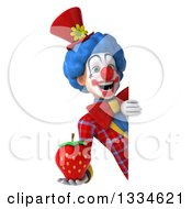 Clipart Of A 3d Colorful Clown Holding A Strawberry Around A Sign Royalty Free Vector Illustration