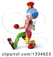 Clipart Of A 3d Colorful Clown Speed Walking To The Left Waving And Holding A Tomato Royalty Free Vector Illustration