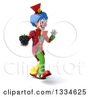 Clipart Of A 3d Colorful Clown Walking Slightly Right Waving And Holding A Blackberry Royalty Free Vector Illustration
