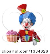 Clipart Of A 3d Colorful Clown Holding A Pink Frosted Cupcake Over A Sign Royalty Free Vector Illustration