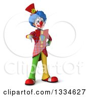 Clipart Of A 3d Colorful Clown Giving A Thumb Down Royalty Free Vector Illustration