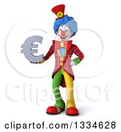 Clipart Of A 3d Colorful Clown Holding A Euro Currency Symbol Royalty Free Vector Illustration