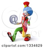Clipart Of A 3d Colorful Clown Speed Walking To The Left Waving And Holding An Email Arobase At Symbol Royalty Free Vector Illustration