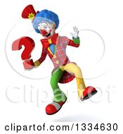 Clipart Of A 3d Colorful Clown Jumping With A Question Mark Royalty Free Vector Illustration