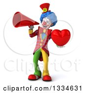 Clipart Of A 3d Colorful Clown Holding A Heart And Announcing With A Megaphone Royalty Free Vector Illustration