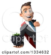Clipart Of A 3d Happy Young White Super Businessman Holding A Blackberry Around A Sign Royalty Free Vector Illustration