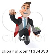 Clipart Of A 3d Happy Young White Super Businessman Flying And Holding A Blackberry Royalty Free Vector Illustration