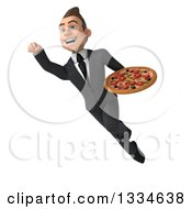Clipart Of A 3d Happy Young White Businessman Flying With A Pizza Royalty Free Vector Illustration