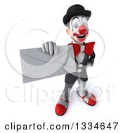 Clipart Of A 3d White And Black Clown Holding Up An Envelope Royalty Free Vector Illustration