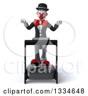 Clipart Of A 3d White And Black Clown Meditating And Walking On A Treadmill Royalty Free Vector Illustration
