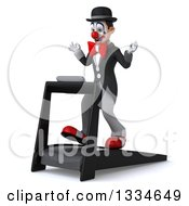 Clipart Of A 3d White And Black Clown Facing Slightly Left Meditating And Walking On A Treadmill Royalty Free Vector Illustration