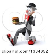 Clipart Of A 3d White And Black Clown Speed Walking To The Left Waving And Holding A Double Cheeseburger Royalty Free Vector Illustration