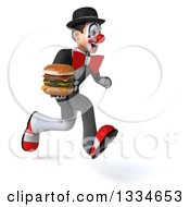Clipart Of A 3d White And Black Clown Sprinting Slightly To The Right And Holding A Double Cheeseburger Royalty Free Vector Illustration