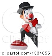 Clipart Of A 3d White And Black Clown Holding A Beef Steak And Looking Around A Sign Royalty Free Vector Illustration
