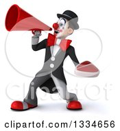 Clipart Of A 3d White And Black Clown Holding A Beef Steak And Announcing To The Left With A Megaphone Royalty Free Vector Illustration