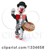 Clipart Of A 3d White And Black Clown Flying And Holding A Pizza Royalty Free Vector Illustration