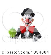 Clipart Of A 3d White And Black Clown Holding A Green Bell Pepper Over A Sign Royalty Free Vector Illustration