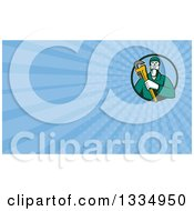 Clipart Of A Retro Male Plumber Holding A Monkey Wrench In A Circle And Blue Rays Background Or Business Card Design Royalty Free Illustration